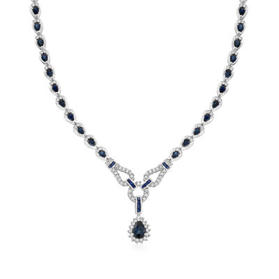 C. 2000 Vintage 10.40 ct. t.w. Sapphire and 1.15 ct. t.w. Diamond Necklace in 14kt White Gold