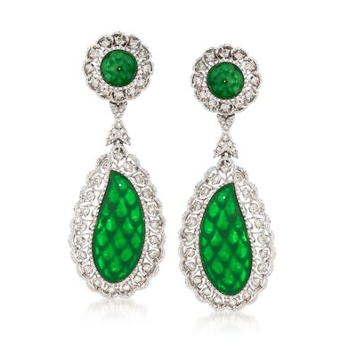 C. 1970 Vintage Jade and 1.00 ct. t.w. Diamond Clip-On Drop Earrings in 18kt White Gold, , default