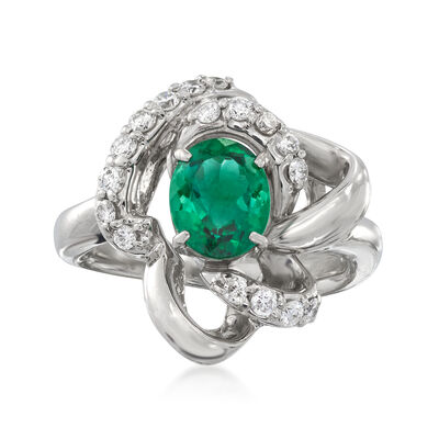 C. 1990 Vintage 1.41 Carat Green Tourmaline and .34 ct. t.w. Diamond Cocktail Ring in Platinum