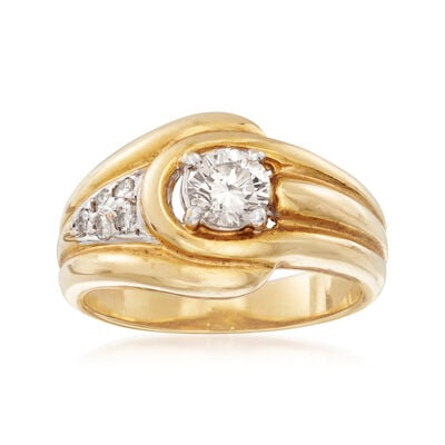 C. 1980 Vintage 1.10 ct. t.w. Diamond Buckle Ring in 18kt Yellow Gold, , default