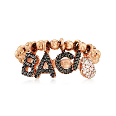 C. 2000 Vintage .37 ct. t.w. Black and White Diamond Baci Beaded Ring in 18kt Rose Gold, , default