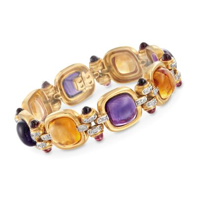 C. 1980 Vintage 59.20 ct. t.w. Multi-Stone and .78 ct. t.w. Diamond Bracelet in 18kt Yellow Gold, , default
