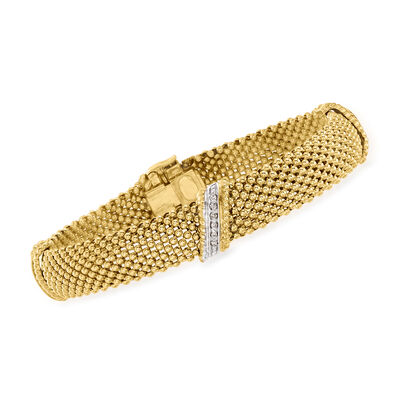 C. 1980 Vintage .20 ct. t.w. Diamond Mesh Bracelet in 14kt Yellow Gold