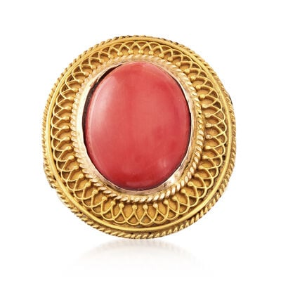 C. 1970 Vintage Coral Ring in 18kt Yellow Gold, , default