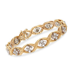 C. 1980 Vintage Jabel 3.30 ct. t.w. Diamond Roped Bracelet in 18kt Yellow Gold, , default