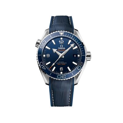 Omega Seamaster Planet Ocean Men's 43.5mm Stainless Steel Watch with Blue Dial and Leather Strap, , default
