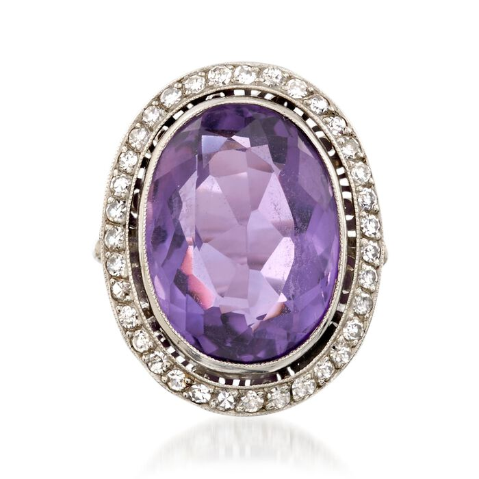 C. 1960 Vintage 11.90 Carat Amethyst and .70 ct. t.w. Diamond Ring in Platinum. Size 4.25, , default