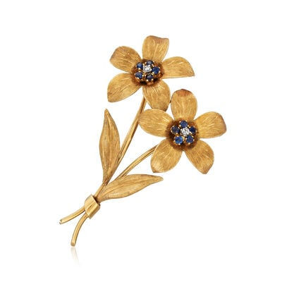 C. 1970 Vintage Tiffany Jewelry .25 ct. t.w. Sapphire Flower Pin with Diamond Accents in 18kt Yellow Gold