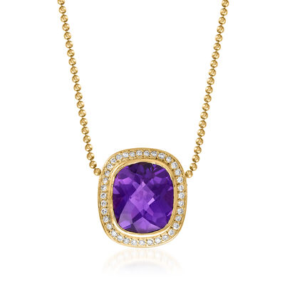 C. 1990 Vintage David Yurman 8.50 Carat Amethyst and .55 ct. t.w. Diamond Necklace in 18kt and 14kt Yellow Gold