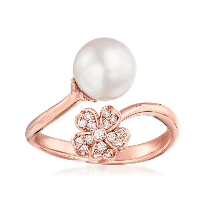 """Mikimoto """"Cherry Blossom"""" 8mm A+ Akoya Pearl and .11 ct. t.w. Diamond Bypass Ring in 18kt Rose Gold"""