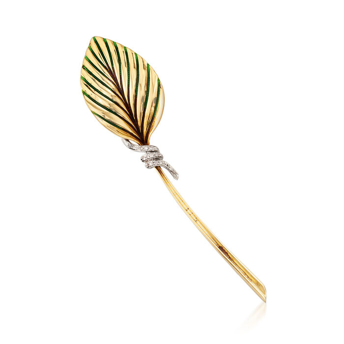 C. 1970 Vintage .12 ct. t.w. Diamond Leaf Pin in 18kt Yellow Gold