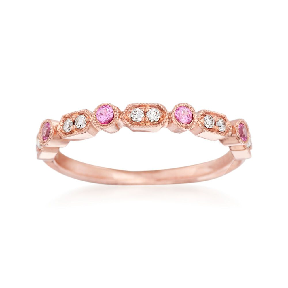 Rose Gold Wedding Band.Henri Daussi 14kt Rose Gold Wedding Ring With Diamond And Pink Sapphire Accents