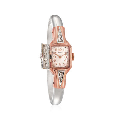 C.1960 Vintage Women's .76 ct. t.w. Diamond 15mm Manual Bangle Watch in Platinum and 14kt Rose Gold, , default