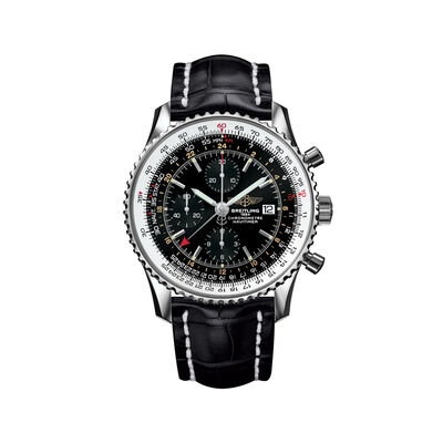 Breitling Navitimer Men's 46mm Stainless Steel Watch - Black Dial and Leather Strap, , default