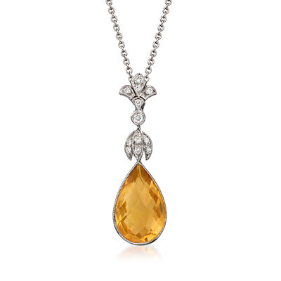 C. 1990 Vintage 4.04 Carat Citrine Pendant Necklace with .10 ct. t.w. Diamonds in 14kt and 18kt White Gold