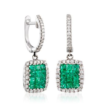 Gregg Ruth .60 Carat Total Weight Emerald and .25 Carat Total Weight Diamond Earrings in 18-Karat White Gold, , default