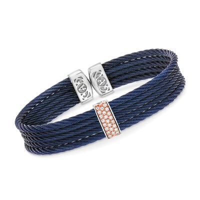 "ALOR ""Classique"" Blue Stainless Steel Cable Cuff Bracelet with .19 ct. t.w. Diamonds and 18kt Rose Gold, , default"