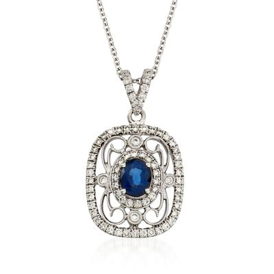 Simon G. .60 Carat Fancy Sapphire and .39 ct. t.w. Diamond Pendant Necklace in 18kt White Gold