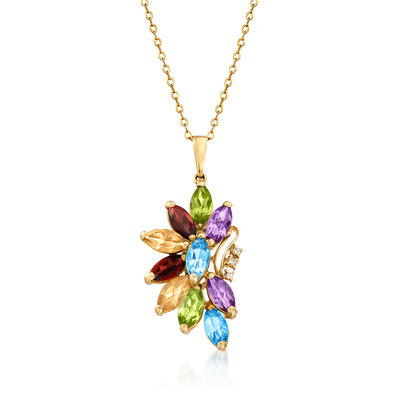 C. 1980 Vintage 5.40 ct. t.w. Multi-Gem Flower Pendant Necklace with Diamond Accents in 14kt Yellow Gold, , default
