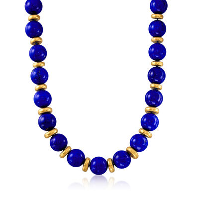 C. 1970 Vintage Lapis Bead Necklace in 18kt Yellow Gold