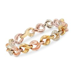 C. 1980 Vintage .90 ct. t.w. Diamond Link Bracelet in 18kt Tri-Colored Gold, , default