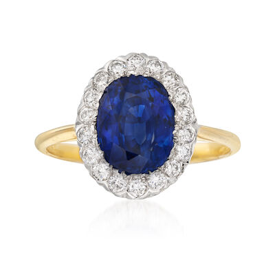C. 1960 Vintage 3.36 Carat Sapphire and .36 ct. t.w. Diamond Ring in 18kt Yellow Gold, , default