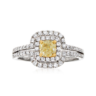 C. 2000 Vintage 1.16 ct. t.w. Yellow and White Diamond Ring in 18kt White Gold