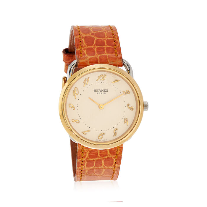 e1bfb7e838e C. 1990 Vintage Hermes Women s 32mm Gold Plated Quartz Watch with Tan  Leather. Size