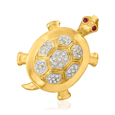 C. 1980 Vintage .25 ct. t.w. Diamond Turtle Pin/Pendant with Ruby Accents in 14kt Yellow Gold