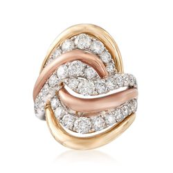 C. 1980 Vintage 2.50 ct. t.w. Diamond Swirl Ring in 14kt Tri-Colored Gold, , default