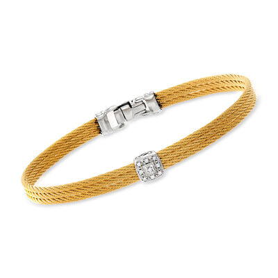 "ALOR ""Classique"" Yellow Stainless Steel Cable Station Bracelet with Diamonds and 18kt White Gold"