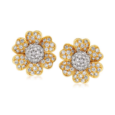 C. 1980 Vintage 3.50 ct. t.w. Diamond Flower Clip-On Earrings in 18kt Two-Tone Gold, , default