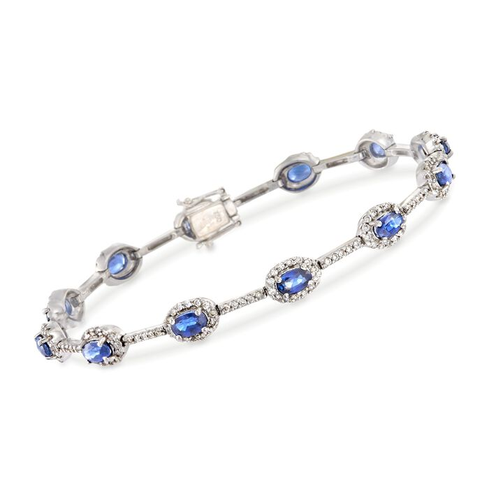 """C. 1990 Vintage 3.00 ct. t.w. Sapphire and 1.15 ct. t.w. Diamond Station Bracelet in 18kt White Gold. 6.75"""", , default"""
