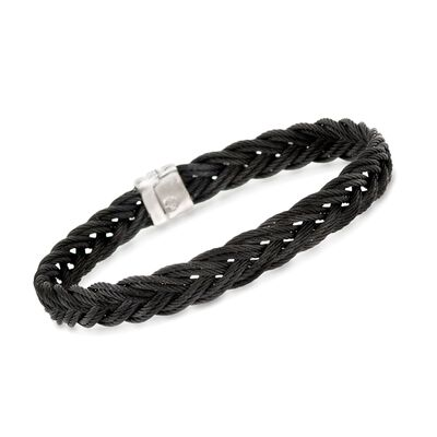 ALOR Men's Black Stainless Steel Braided Rope Bracelet, , default