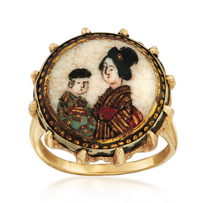 C. 1960 Vintage Painted Enamel Chinese Motif Ring in 14kt Yellow Gold, , default