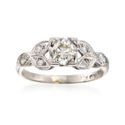 C. 1970 Vintage 1.10 ct. W. Diamond Floral Ring in Platinum, , default