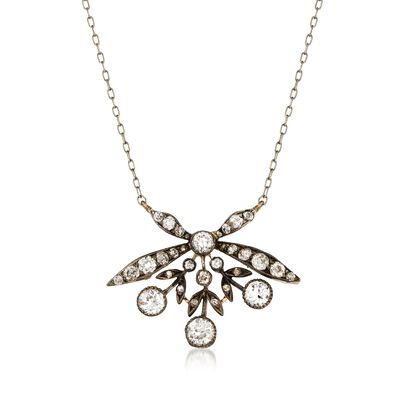 C. 1940 Vintage 1.85 ct. t.w. Diamond Floral Necklace in Sterling Silver and 14kt Gold, , default