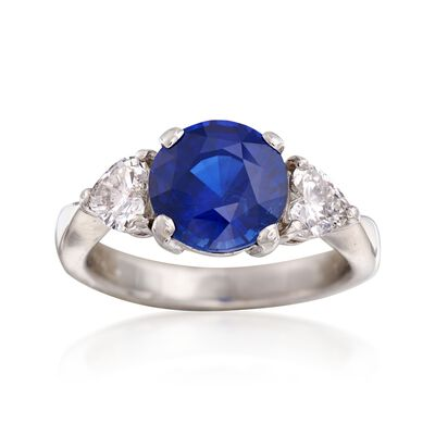 C. 1990 Vintage 2.50 Carat Sapphire and .51 ct. t.w. Diamond Ring in Platinum, , default