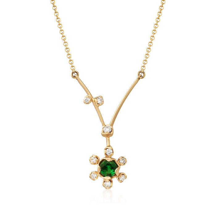 "Simon G. .20 Carat Tsavorite and .11 ct. t.w. Diamond Floral Necklace in 18kt Yellow Gold. 18"", , default"