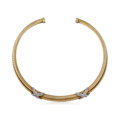 C. 1980 Vintage David Yurman 1.50 ct. t.w. Diamond X Collar Necklace in 14kt Two-Tone Gold, , default