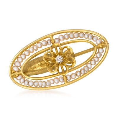 C. 1950 Vintage 10kt Yellow Gold Oval Pin with Seed Pearls and Diamond Accent