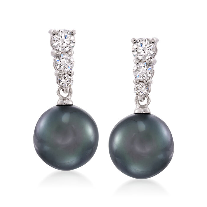Mikimoto 9mm Black South Sea Pearl and Diamond Earrings in 18-Karat White Gold, , default