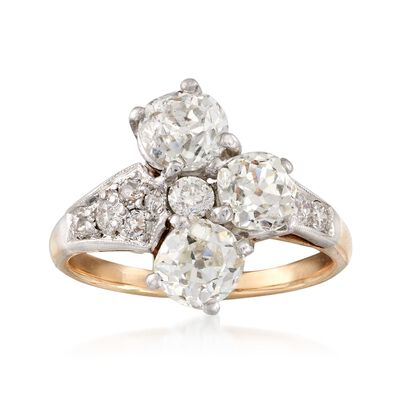 C. 1980 Vintage 2.55 ct. t.w. Diamond Trio Ring in 14kt Two-Tone Gold, , default