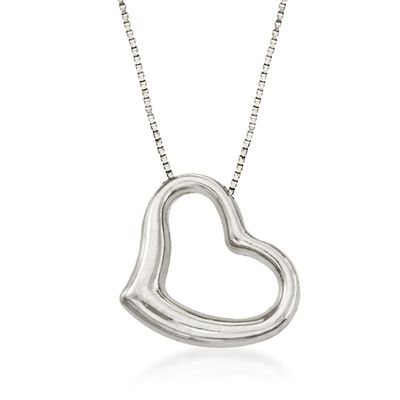 Roberto Coin 18kt White Gold Heart Necklace, , default