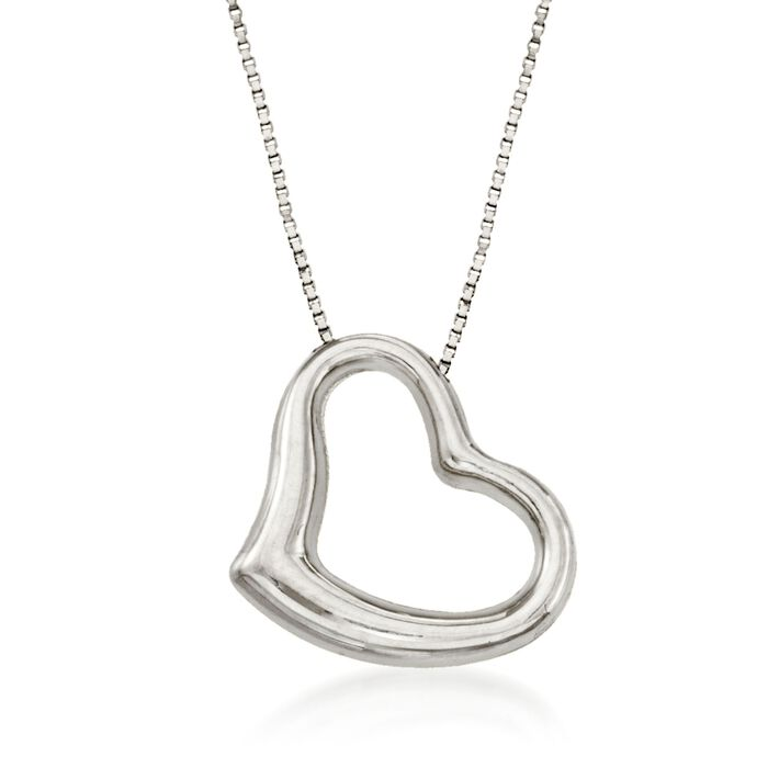 "Roberto Coin Heart Necklace in 18-Karat White Gold. 16"", , default"