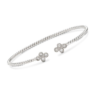 Gabriel Designs .40 ct. t.w. Diamond Clover Cuff Bracelet in 14kt White Gold