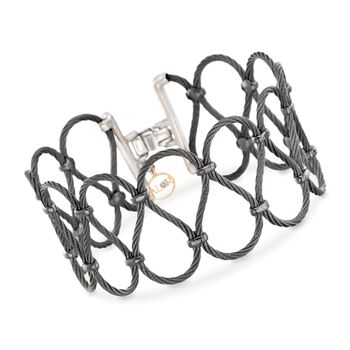 """ALOR Noir Black Stainless Steel Cable Swirl Bracelet With Diamond Accent and 18-Karat Yellow Gold. 7"""", , default"""