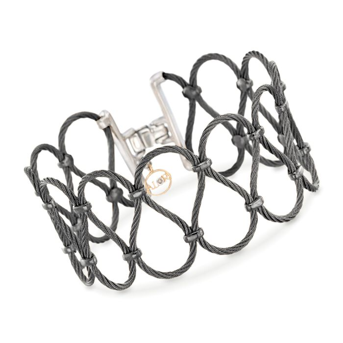 "ALOR Noir Black Stainless Steel Cable Swirl Bracelet with Diamond Accent and 18-Karat Yellow Gold. 7"", , default"