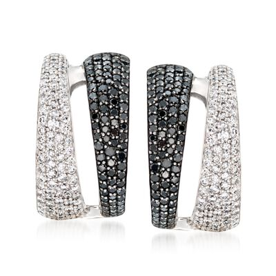 Roberto Coin 2.60 ct. t.w. Black and White Diamond Hoop Earrings in 18kt White Gold, , default