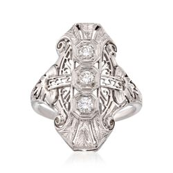 C. 1950 Vintage .33 ct. t.w. Diamond Dinner Ring in 18kt White Gold, , default